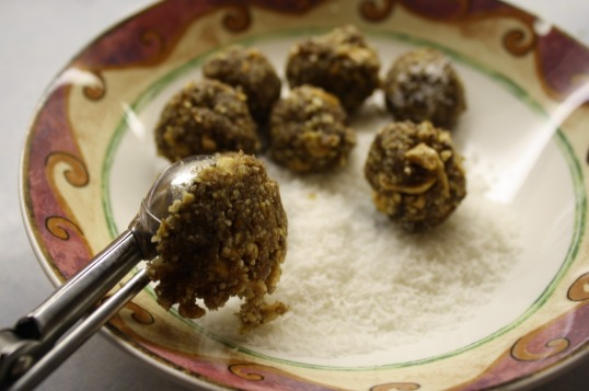 scoop nut mixture using small scoop, press into balls, and roll in coconut.
