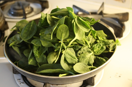 add spinach to sauteed onions -- it'll seem like a lot, but will wilt