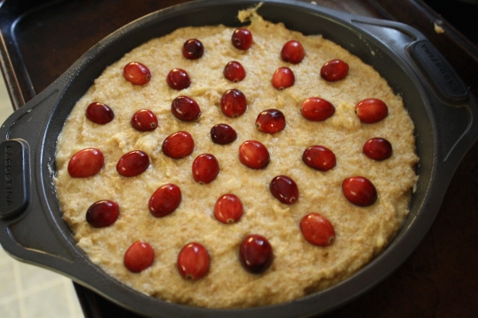 place cranberries on top of batter