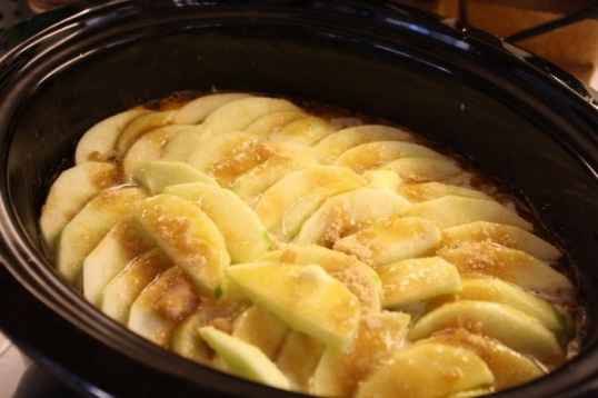 drizzle with melted butter and sprinkle brown sugar over apples